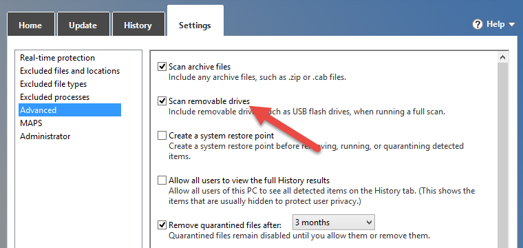 Scan Portable Disks in Windows 10 Using Windows Defender