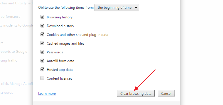 how to clear web browser history windows 10